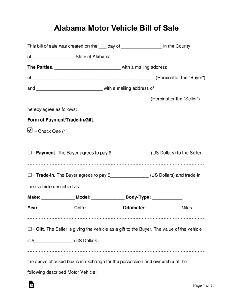 Free Alabama Motor Vehicle Bill Of Sale Form - Word | Pdf | Eforms - Free Printable Bill Of Sale For Vehicle In Alabama