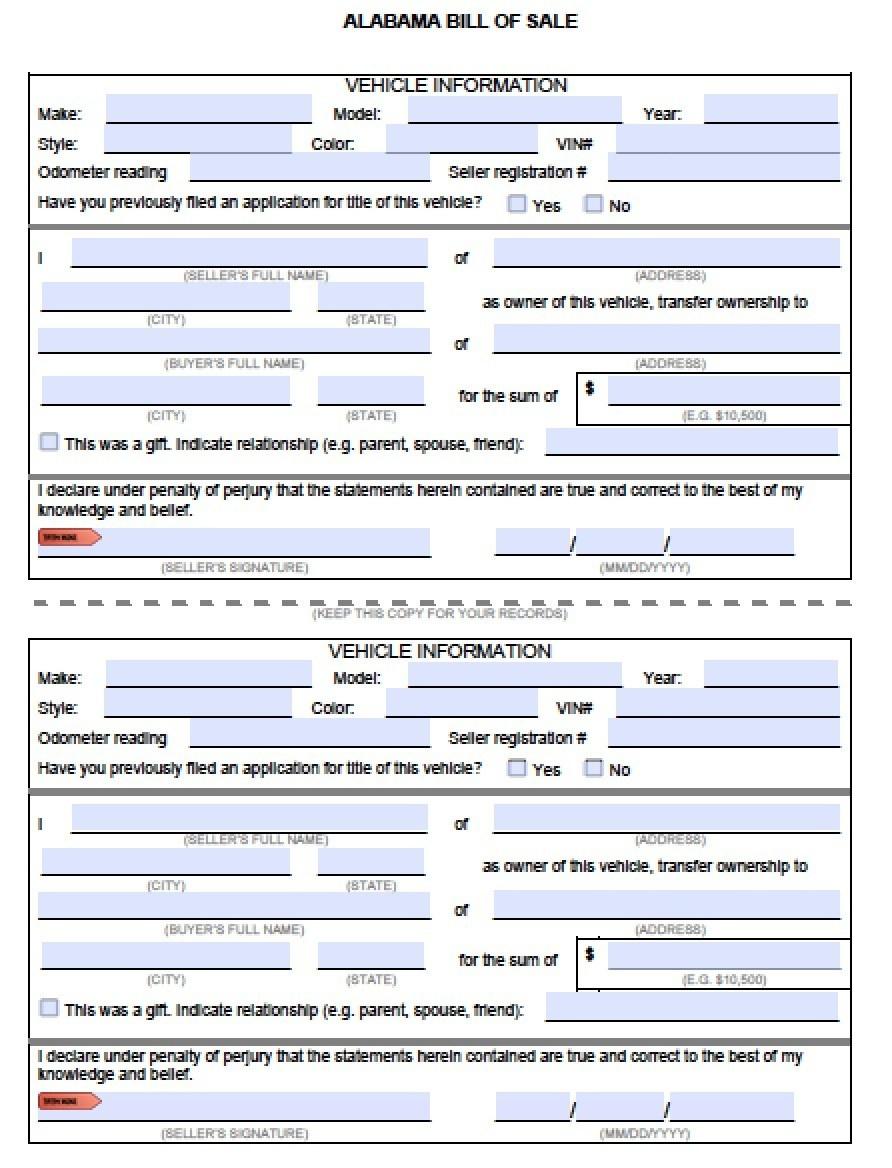 Free Alabama Mvd Bill Of Sale Form | Pdf | Word (.doc) - Free Printable Bill Of Sale For Vehicle In Alabama