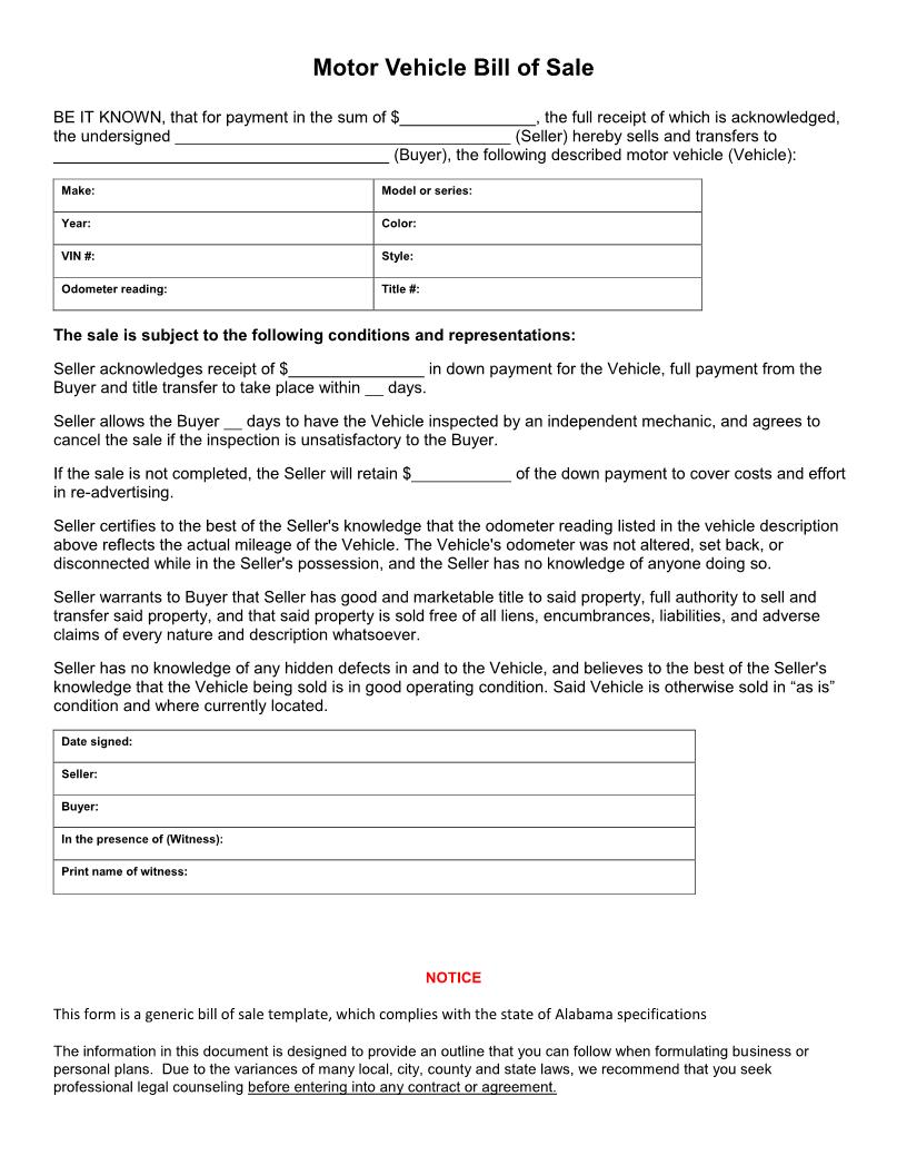 Free Alabama Vehicle Bill Of Sale Form - Download Pdf | Word - Free Printable Bill Of Sale For Vehicle In Alabama