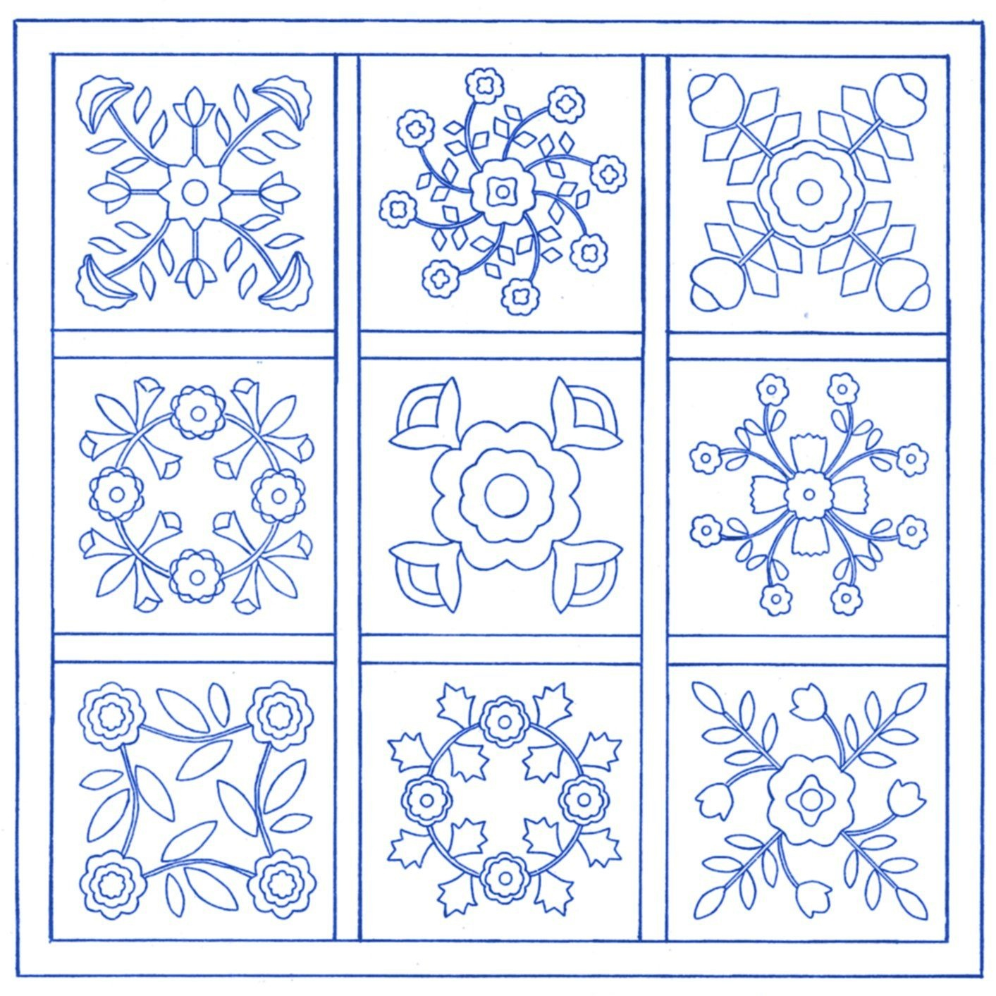 Free Applique Quilt Block Patterns | Traditional Applique Patterns - Free Printable Flower Applique Patterns