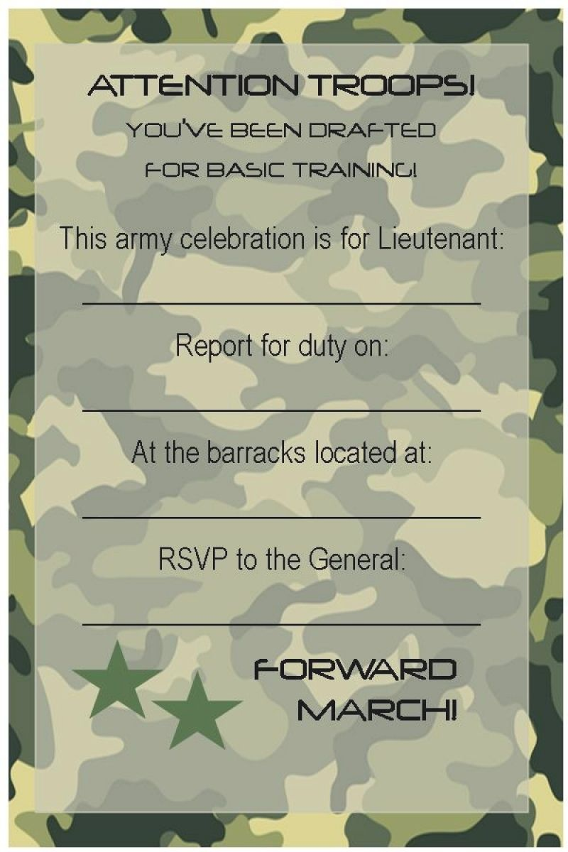Free Army Birthday Invitation Template | Army Party Invitation In - Free Printable Camouflage Birthday Cards