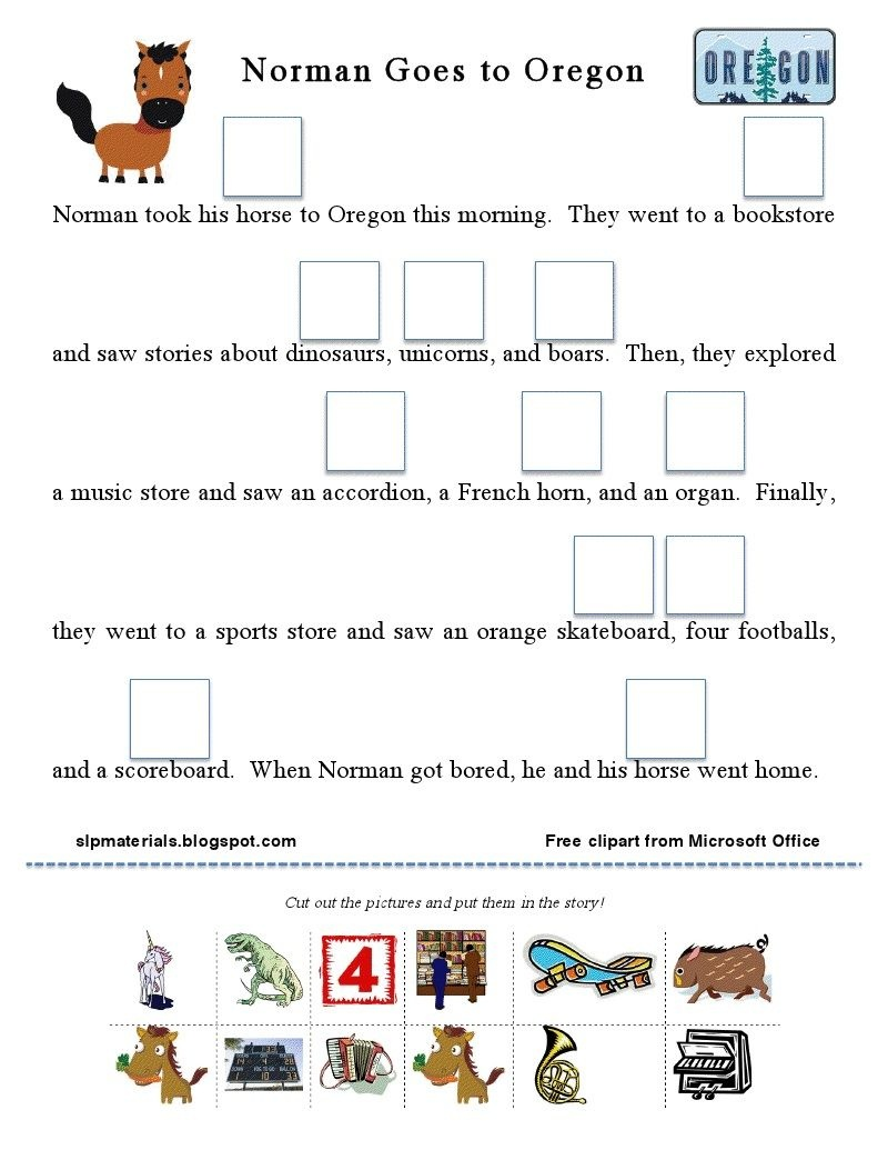 "Free Articulation Story Activity: Vocalic /r/ (""or"" Sound)! 