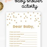 Free Baby Shower Printable – Gold Glitter Wishes For Baby   Instant   Free Baby Shower Printables