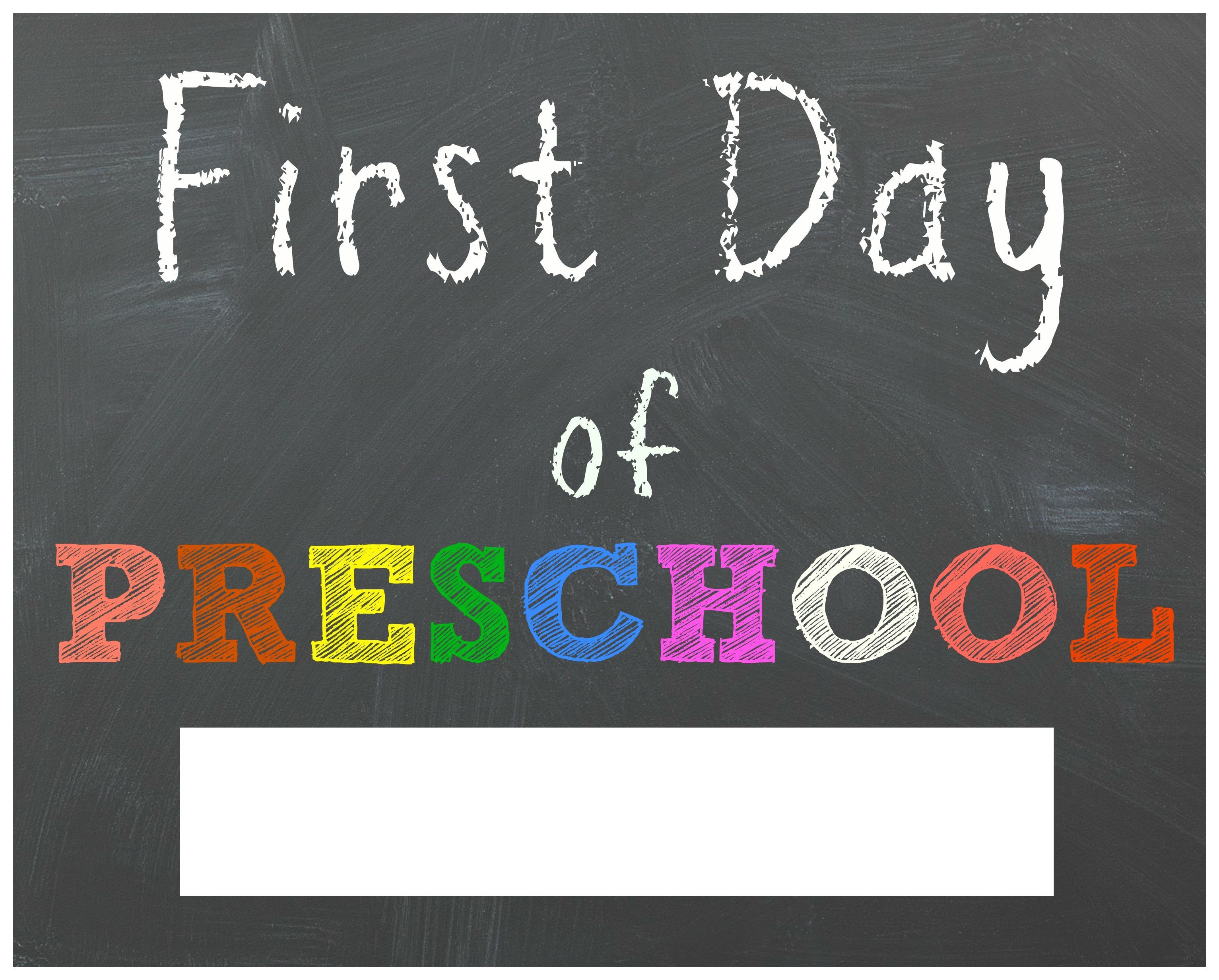 Free Back To School Printable Chalkboard Signs For First Day Of - Free Printable First Day Of Preschool Sign