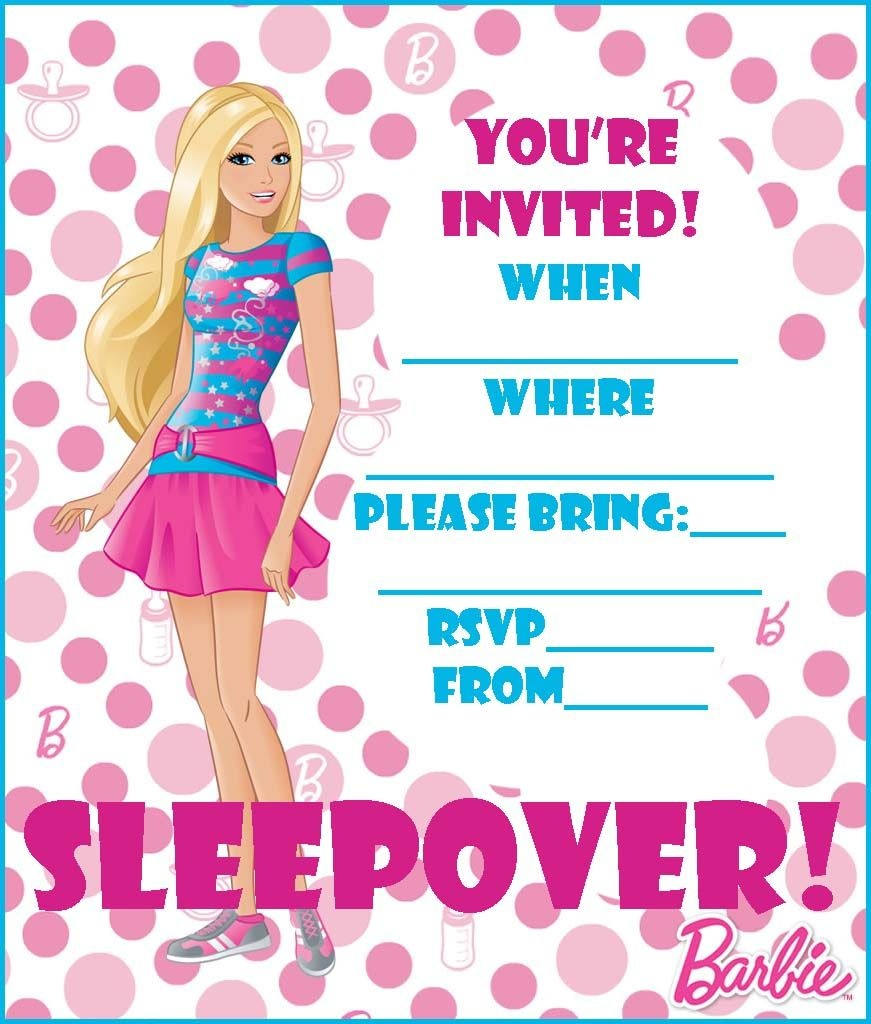 Free Barbie Coloring Pages And Free Printable Party Invitations - Free Printable Barbie Birthday Party Invitations