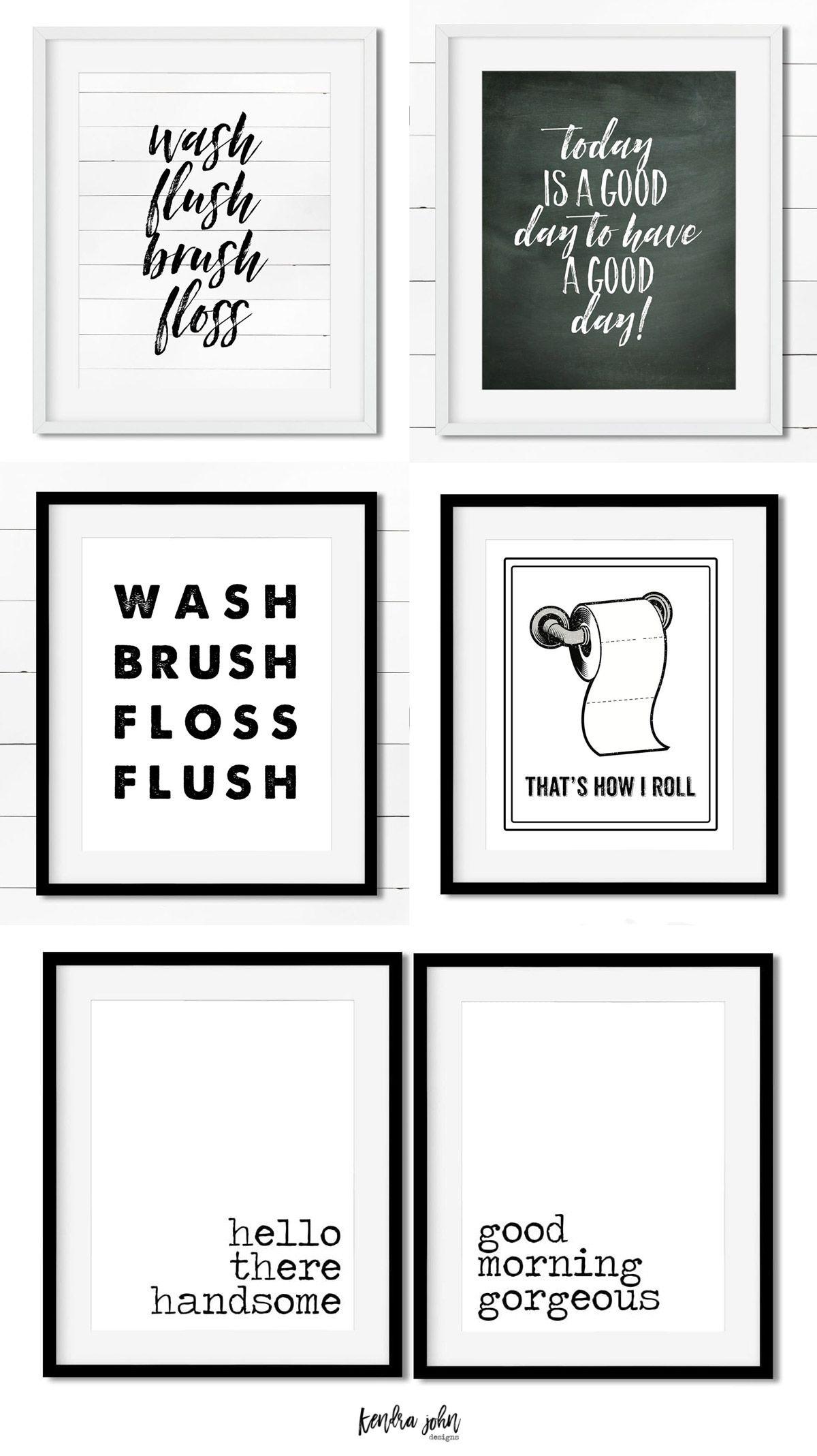 Free Bathroom Printables - Black And White | Printables | Home Decor - Free Bathroom Printables