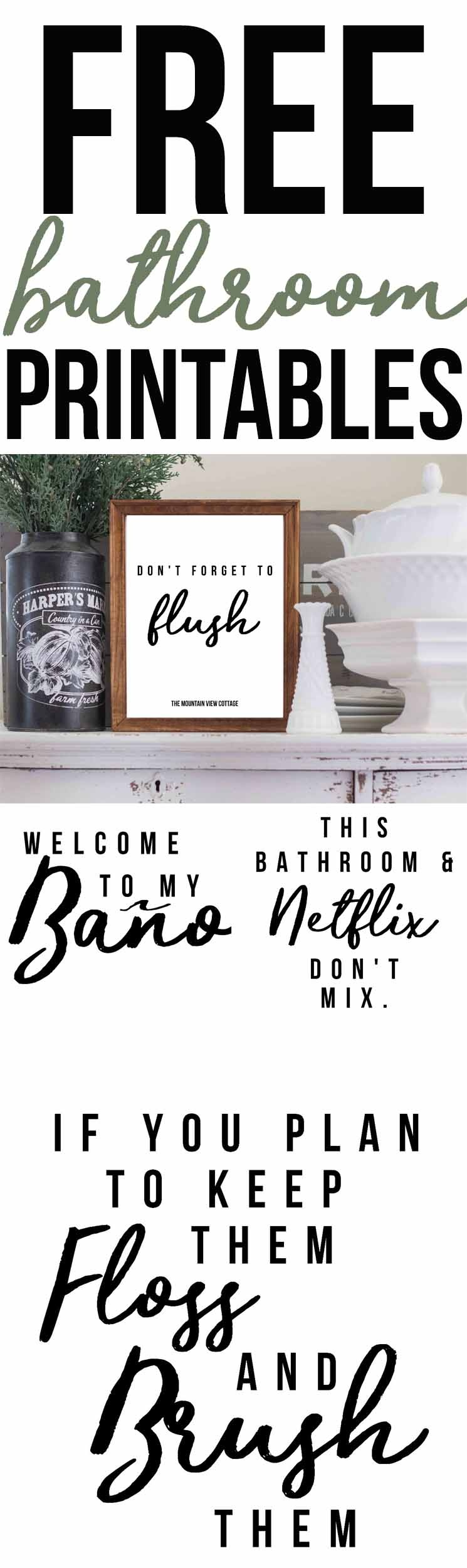 Free Bathroom Printables-Farmhouse Printables - The Mountain View - Free Bathroom Printables