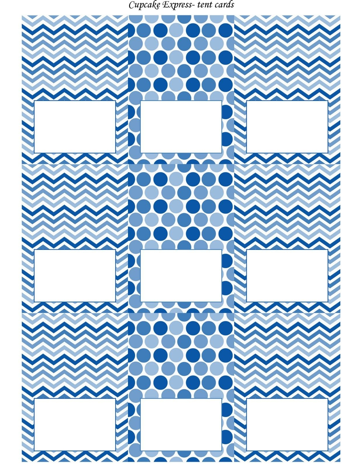 Free Blue And White Printable Tent Cards | Free Printables | Party - Free Printable Food Tent Cards