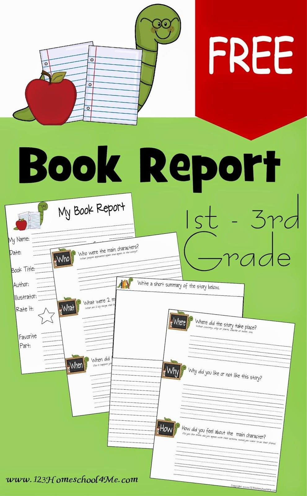 Free Book Report Template | School | 1St Grade Books, 3Rd Grade - Free Printable Book Report Forms For Second Grade