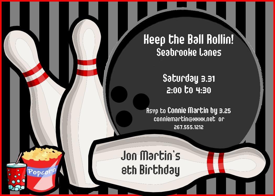 Free Bowling Birthday Party Invitations — Birthday Invitation Examples - Free Printable Bowling Birthday Party Invitations