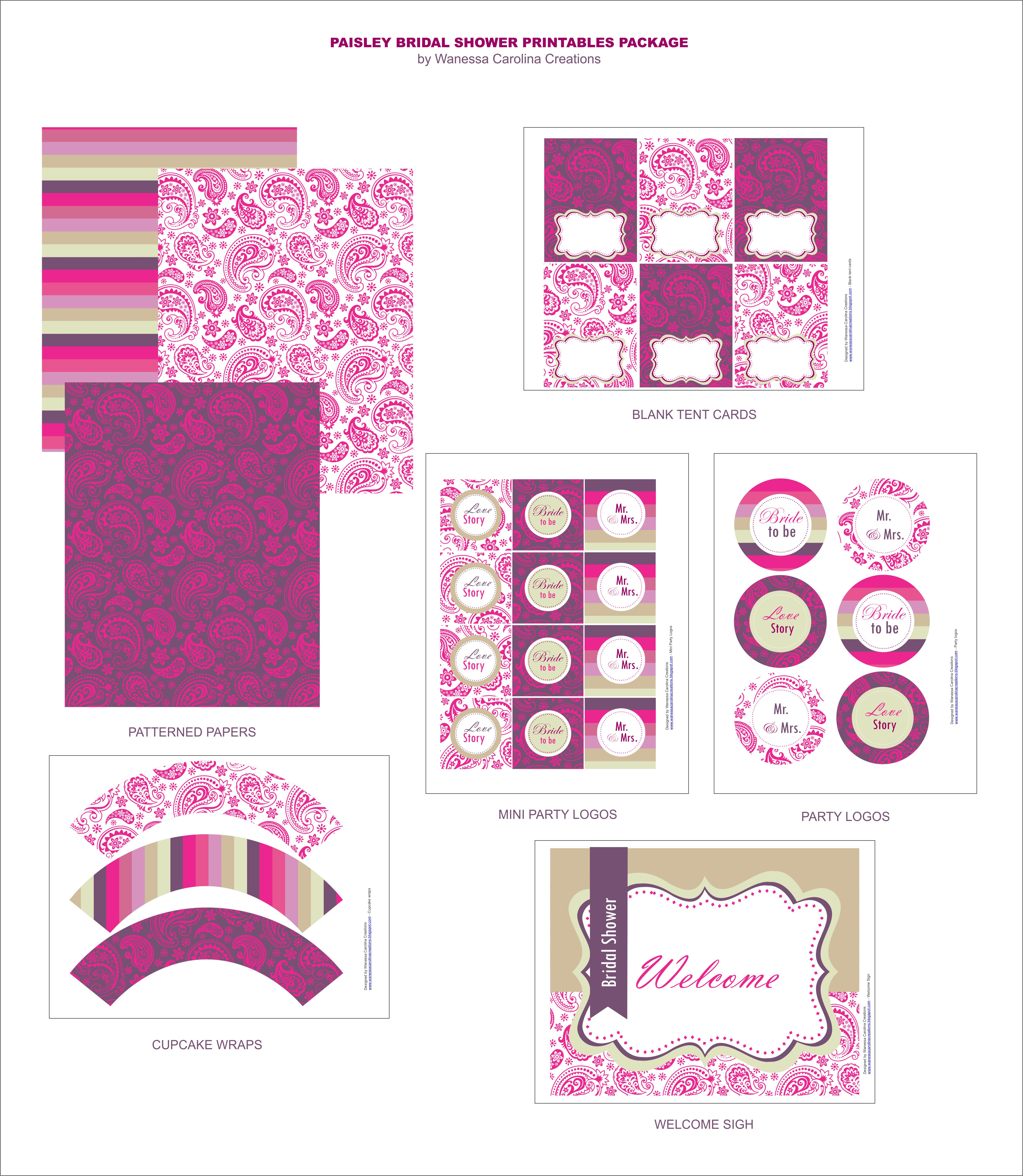 Free Bridal Shower Printables From Wanessa Carolina Creations - Free Bridal Shower Printables