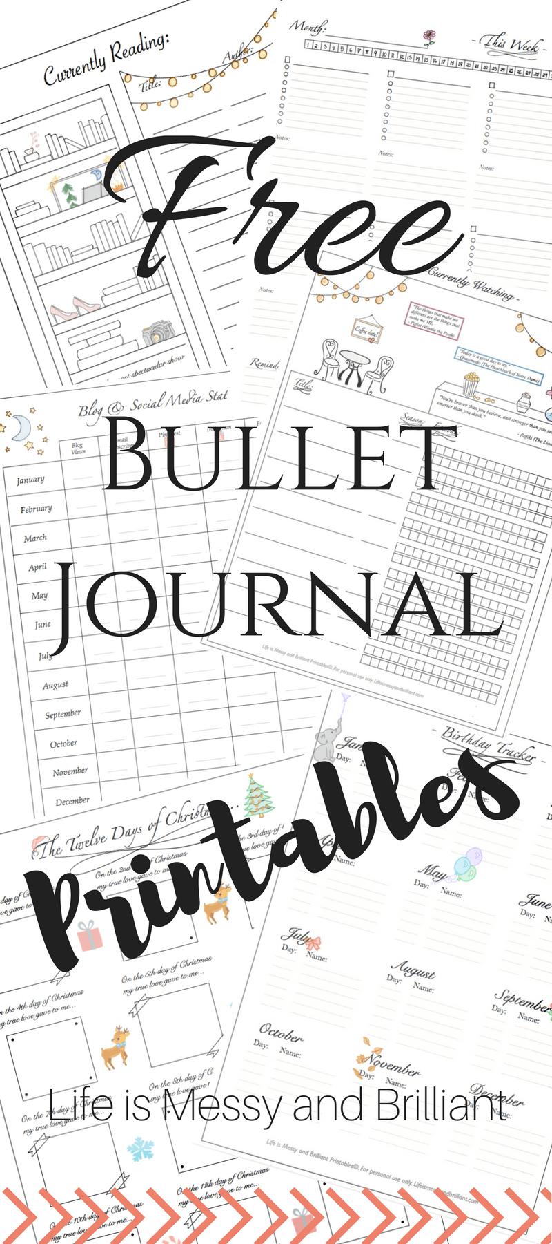 Free Bullet Journal Printables | Journaling | Bullet Journal - Free Bullet Journal Printables 2018