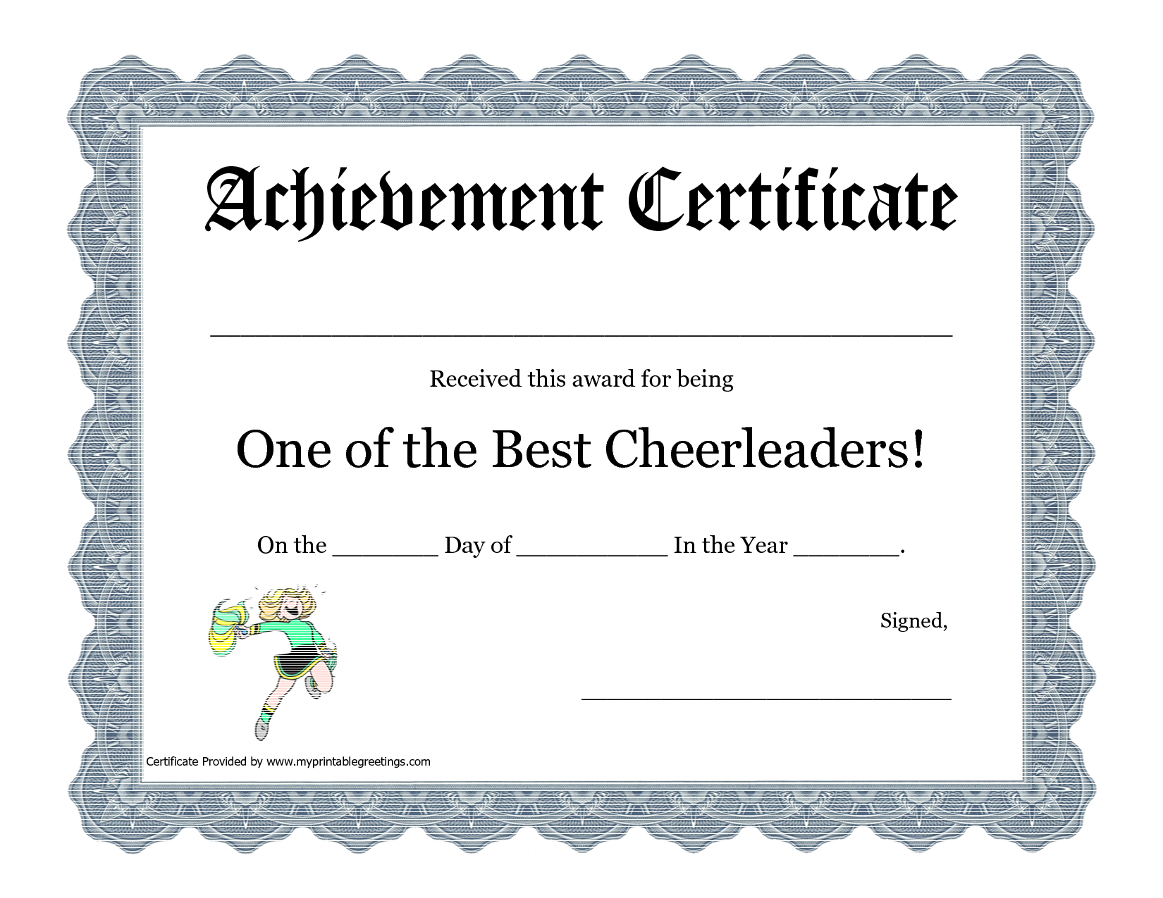 Free Cheerleading Printables | Best Cheerleader Printable Awards - Free Printable Cheerleading Certificates