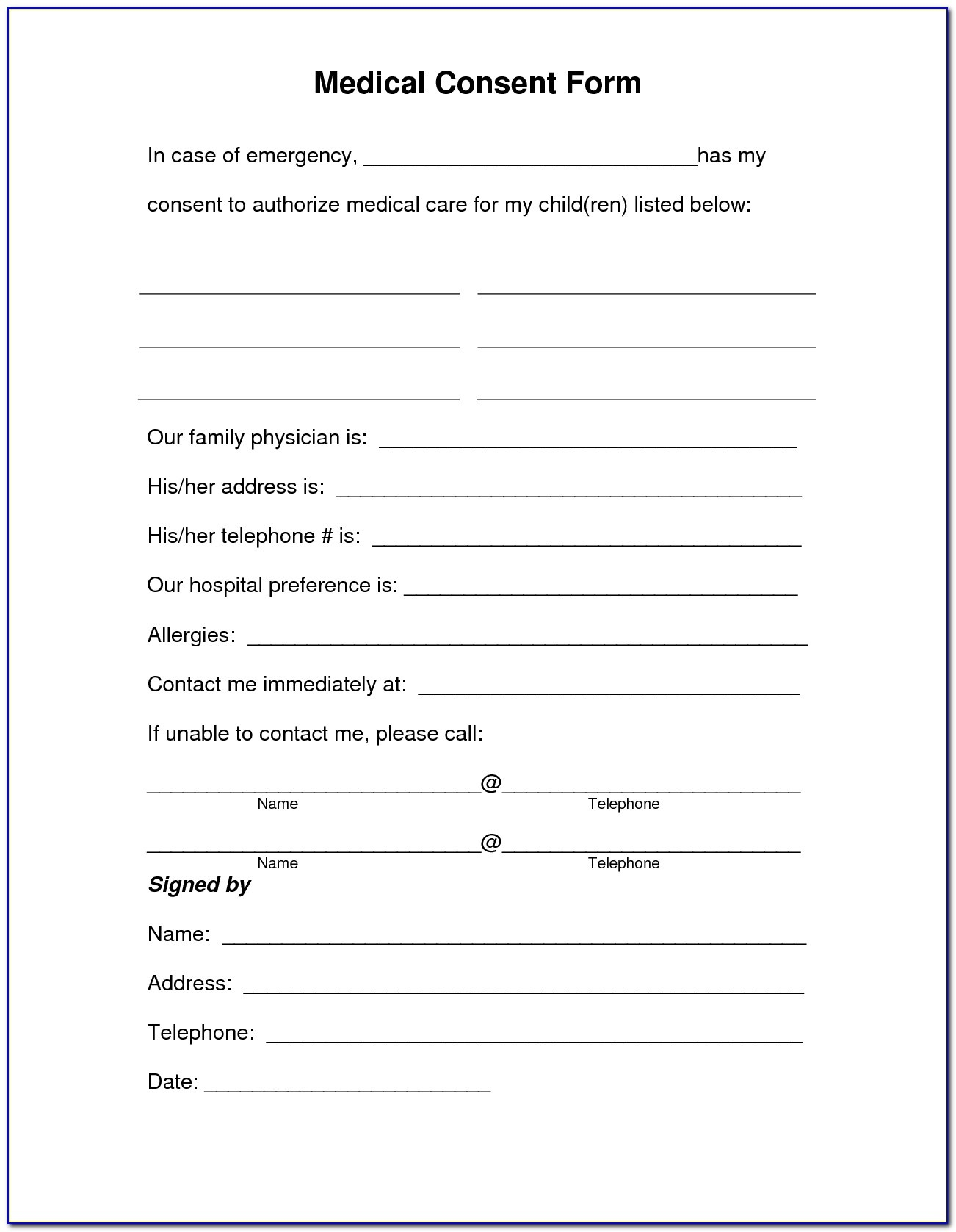 Free Child Medical Consent Form Template - Form : Resume Examples - Free Printable Medical Consent Form