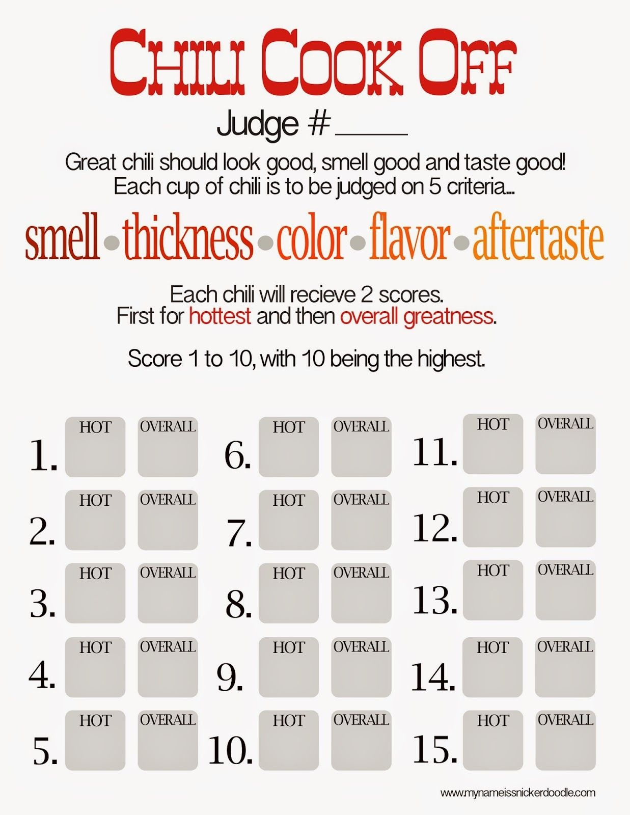 Free Chili Cook Off Score Card | Chili Cook Out Party | Chili, Chili - Chili Cook Off Printables Free