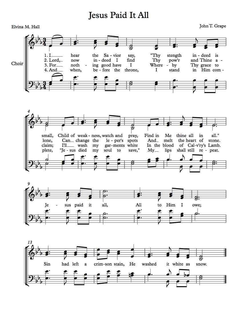 Free Choir Sheet Music – Jesus Paid It All | Arts | Violin Songs - Free Printable Christian Music Lyrics