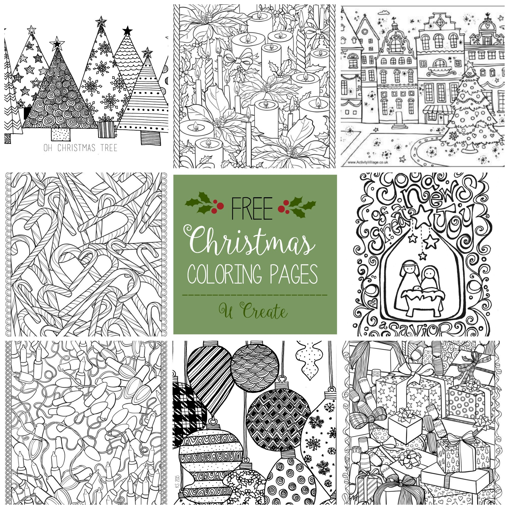 Free Christmas Adult Coloring Pages - U Create - Free Printable Christmas Coloring Sheets