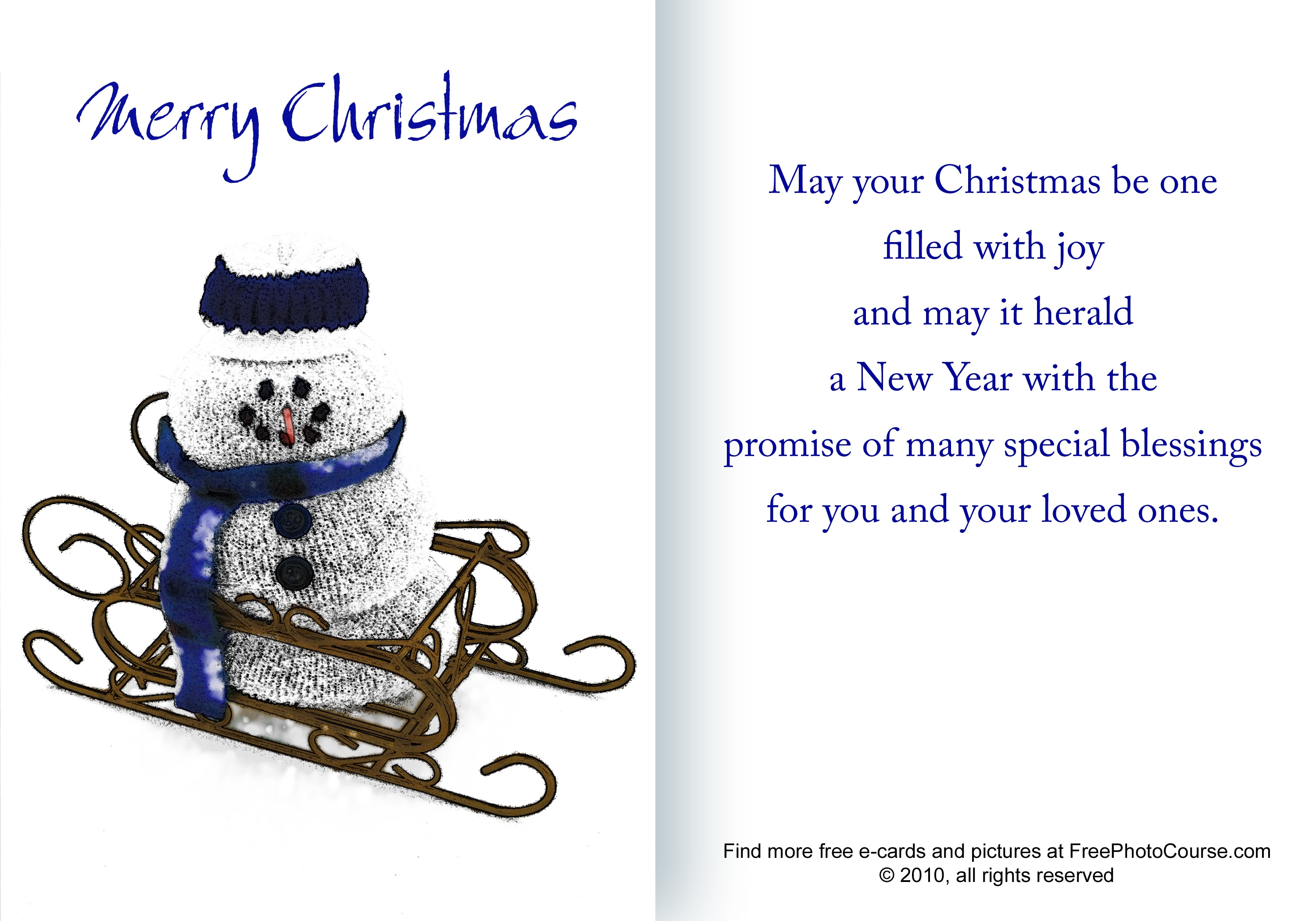 Free Christmas And Holiday Cards And Pictures - Free Printable Quarter Fold Christmas Cards