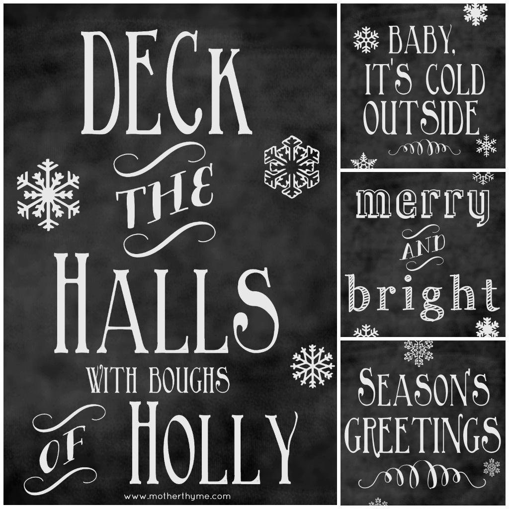 Free Christmas Chalkboard Printables | Mother Thyme - Free Chalkboard Printables