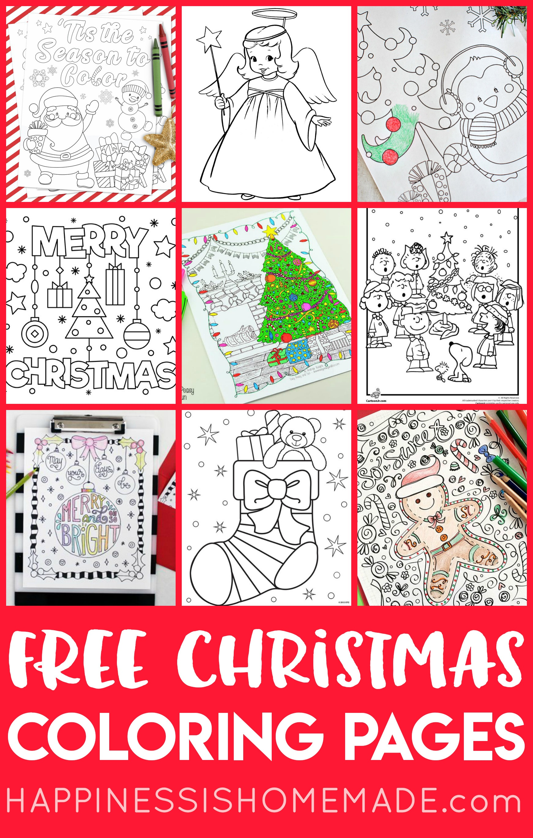 Free Christmas Coloring Pages For Adults And Kids - Happiness Is - Free Printable Christmas Coloring Sheets