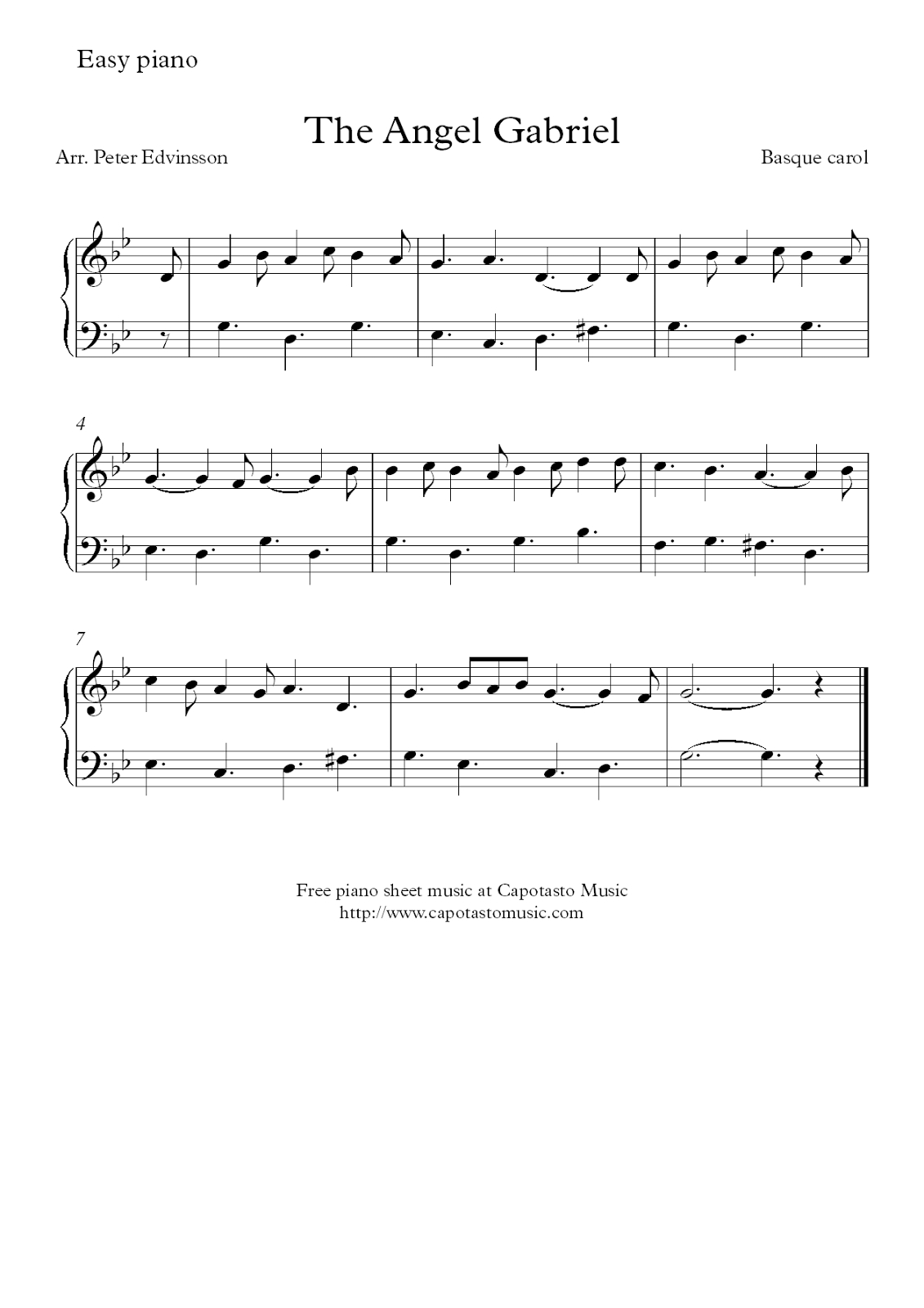 Free Christmas Piano Sheet Music Score, The Angel Gabriel - Free Printable Sheet Music For Piano Beginners Popular Songs
