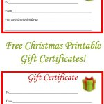 Free Christmas Printable Gift Certificates | Gift Ideas | Christmas   Free Printable Gift Certificate Christmas