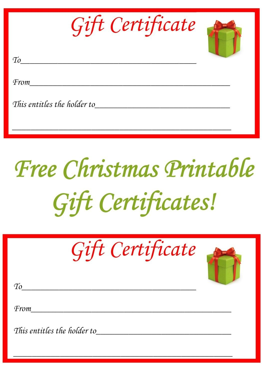 Free Christmas Printable Gift Certificates | Gift Ideas | Christmas - Free Printable Gift Certificate Template