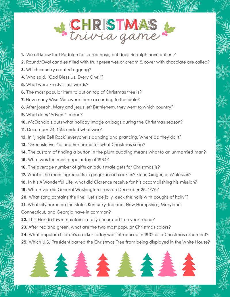 Free Christmas Trivia Game | Lil' Luna - Free Printable Christmas Song Quiz