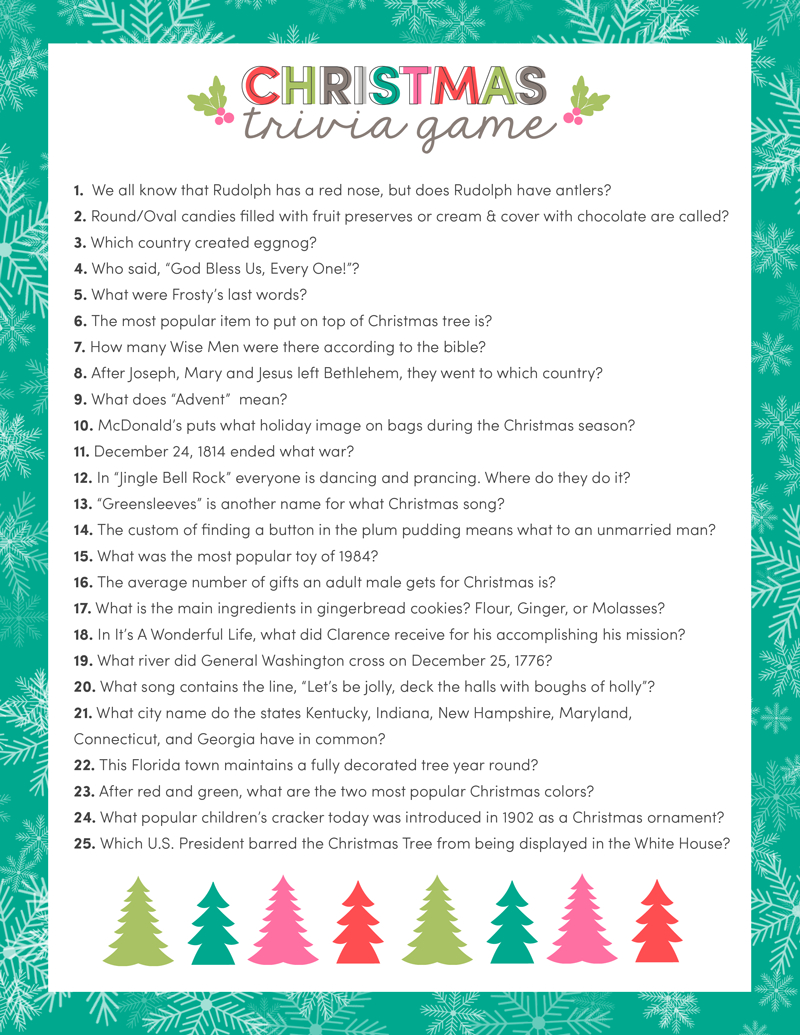 Free Christmas Trivia Game | Lil' Luna - Holiday Office Party Games Free Printable