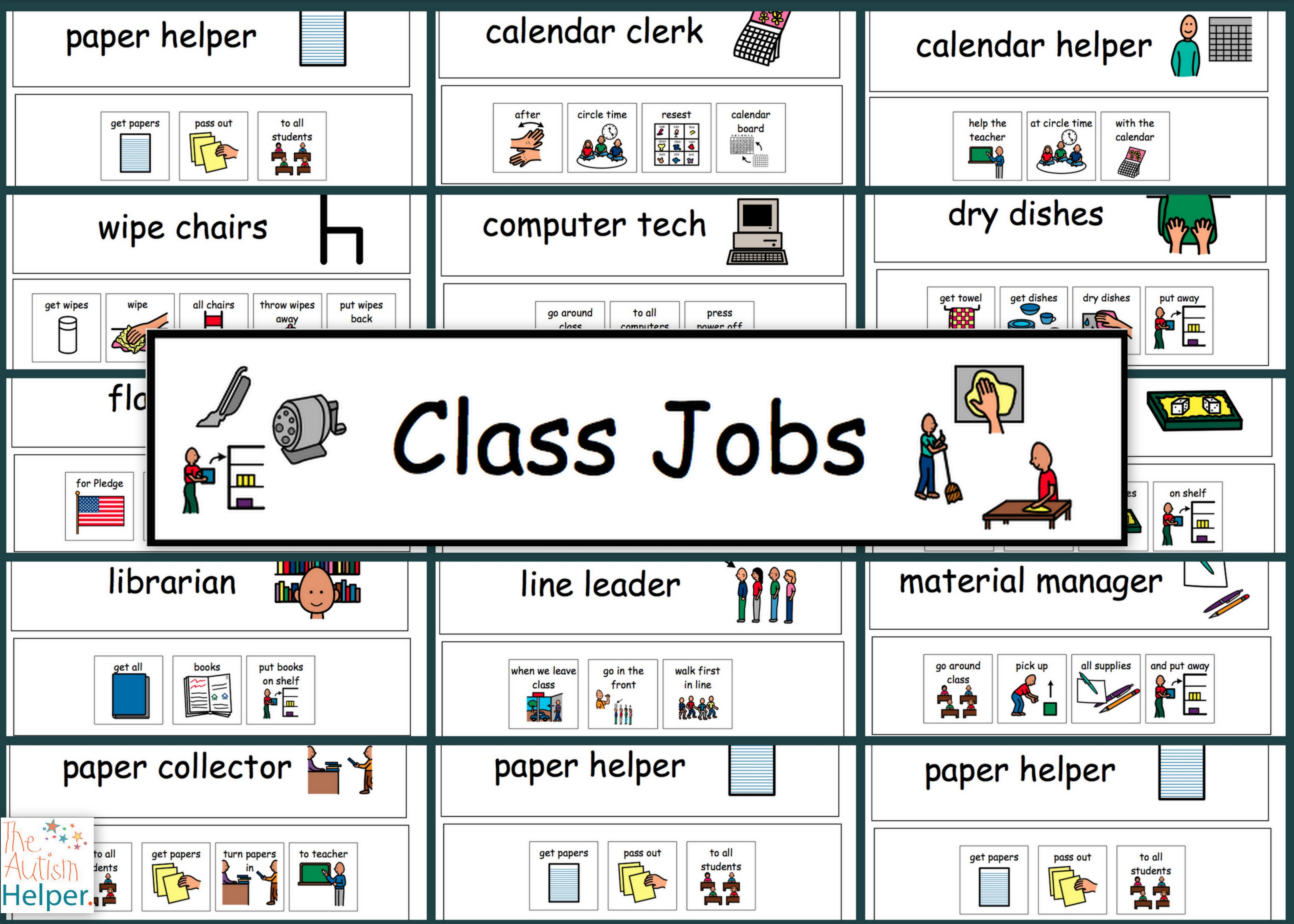 Free Classroom Jobs Cliparts, Download Free Clip Art, Free Clip Art - Classroom Helper Chart Free Printables