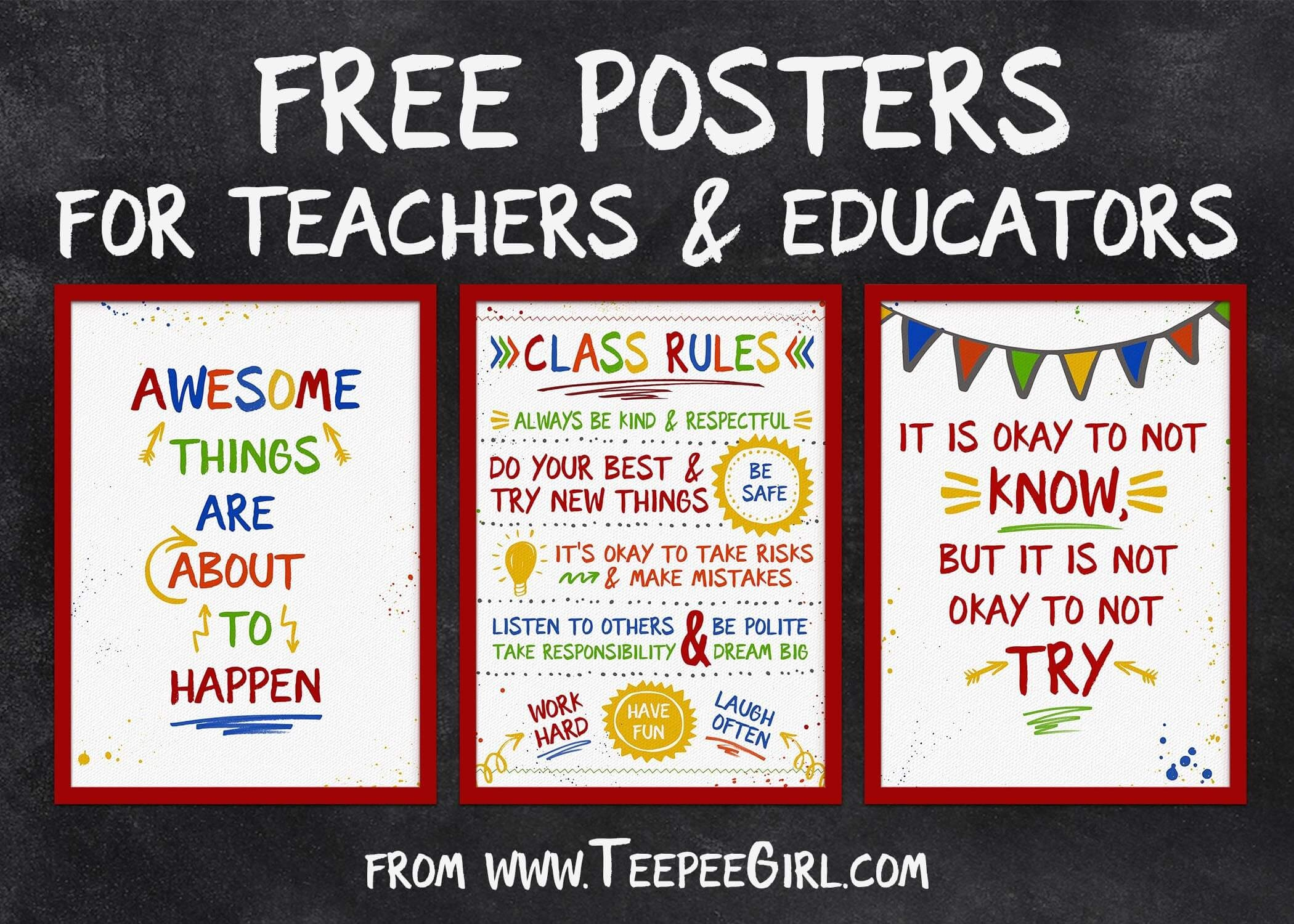 Free Classroom Posters - Teepee Girl - Free Printable Posters For Teachers