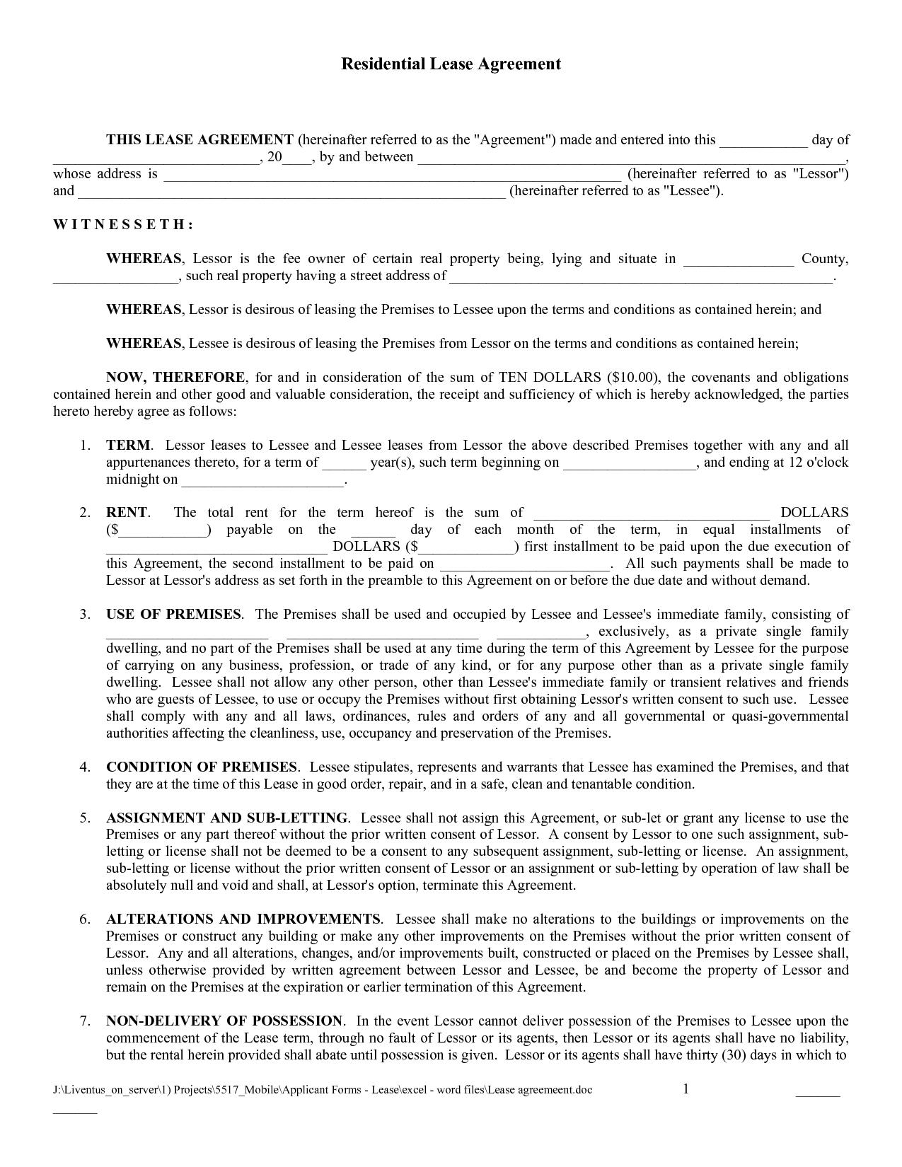 Free Copy Rental Lease Agreement | Free Printable Lease Agreement - Blank Lease Agreement Free Printable