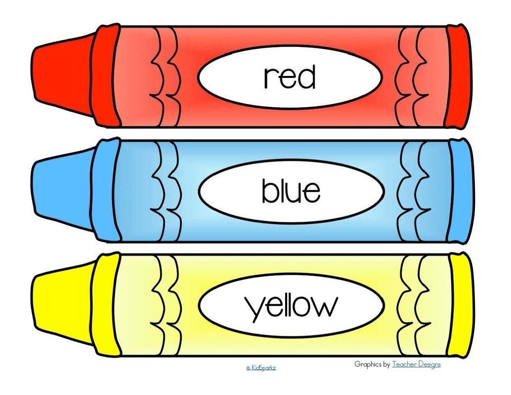 Free*** Crayons Word Wall - 11 Colors Plus A Blank B/w Crayon. 4 - Free Printable Crayon Name Tags