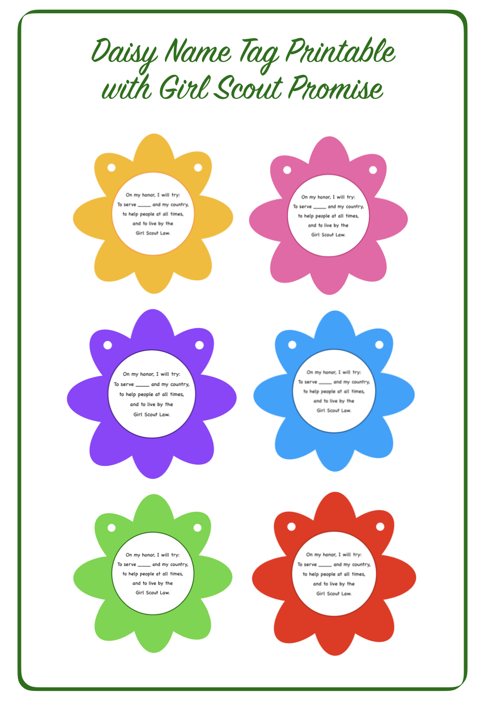 Free Daisy Name Tag Printable With Girl Scout Promise Printed On The - Free Daisy Girl Scout Printables