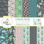 Free Digital (And Printable) Llama Scrapbook Paper • Glitter 'n Spice   Free Printable Scrapbook Decorations