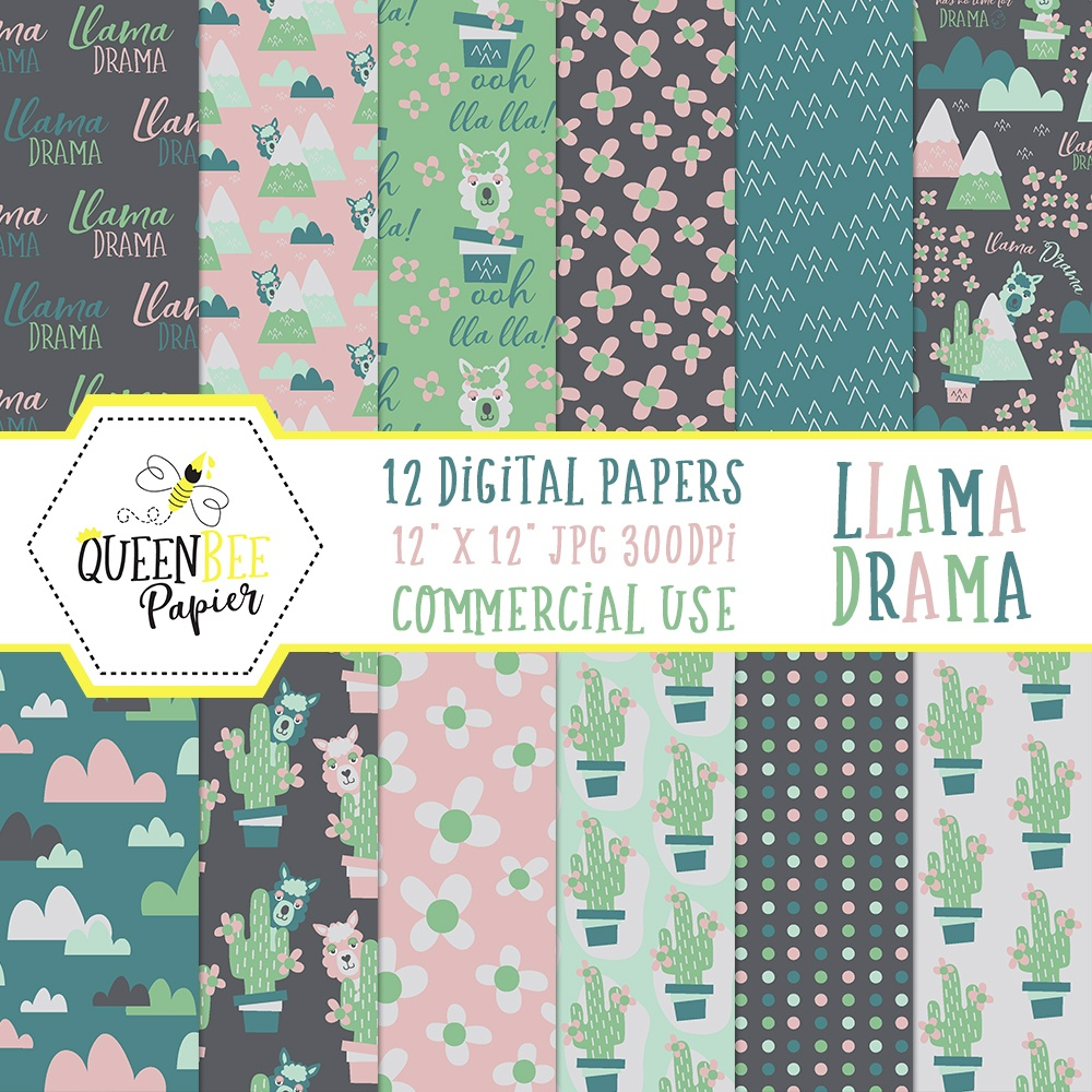 Free Digital (And Printable) Llama Scrapbook Paper • Glitter 'n Spice - Free Printable Scrapbook Decorations