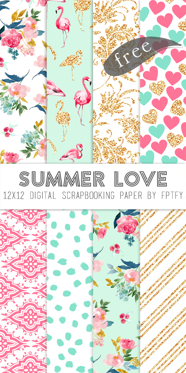 Free Digital Scrapbook Paper-Summer Love | My Printables | Papel Del - Free Printable Scrapbook Paper