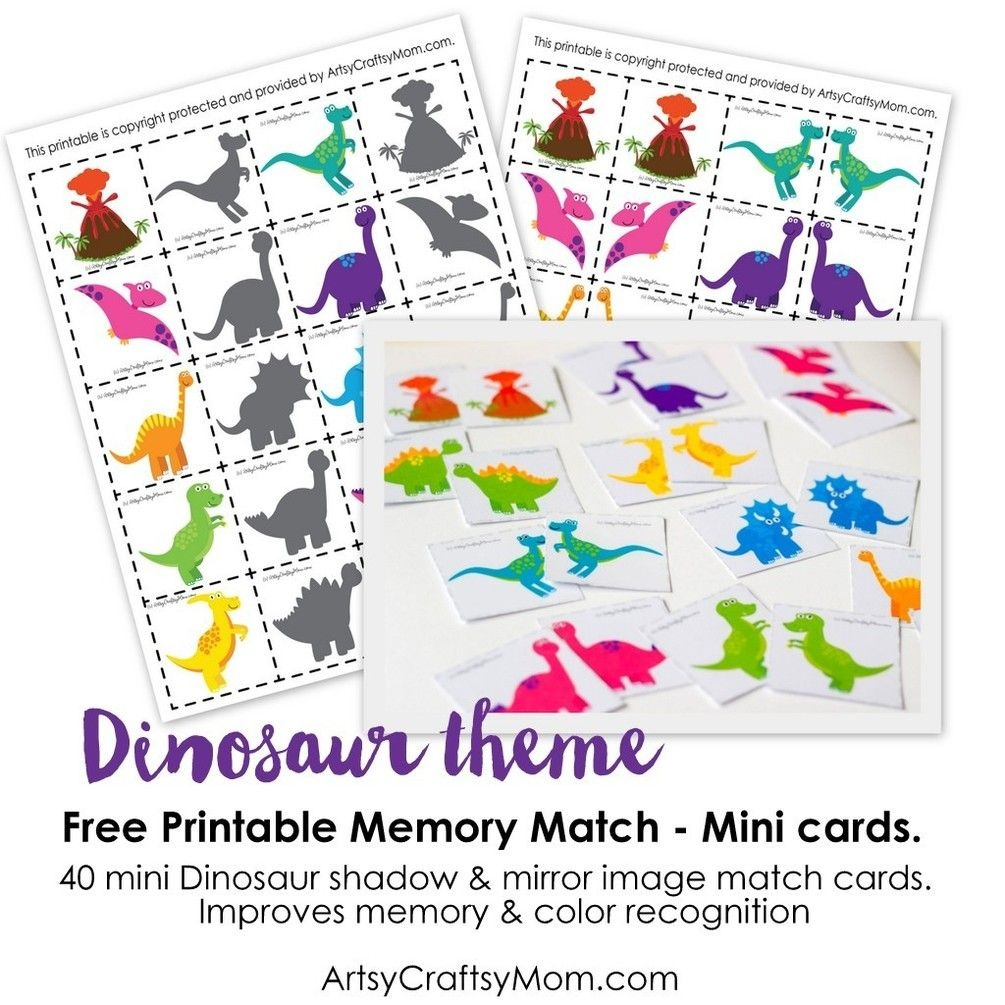 Free Dinosaur Match Game | Kids Craft Stars | Memory Games For Kids - Free Printable Matching Cards
