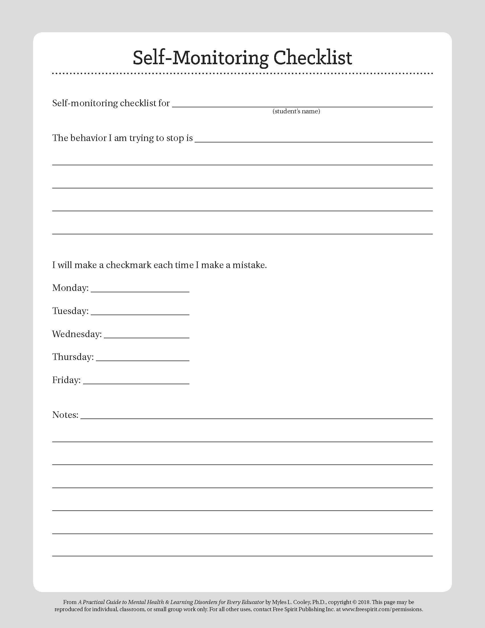 "Free Download: ""student Behavior Self-Monitoring Checklist,"" A - Free Printable Mental Health Worksheets"