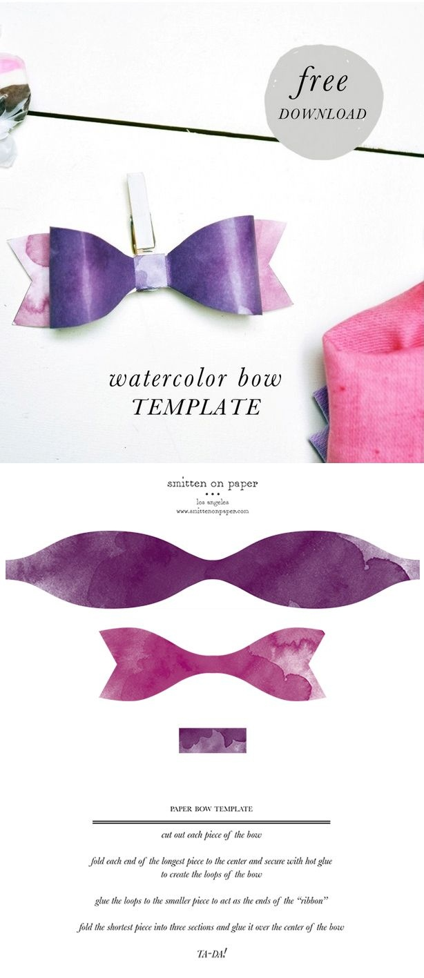 Free Download: Watercolor Paper Bow Template | Free Printables | Bow - Free Printable Bow Template