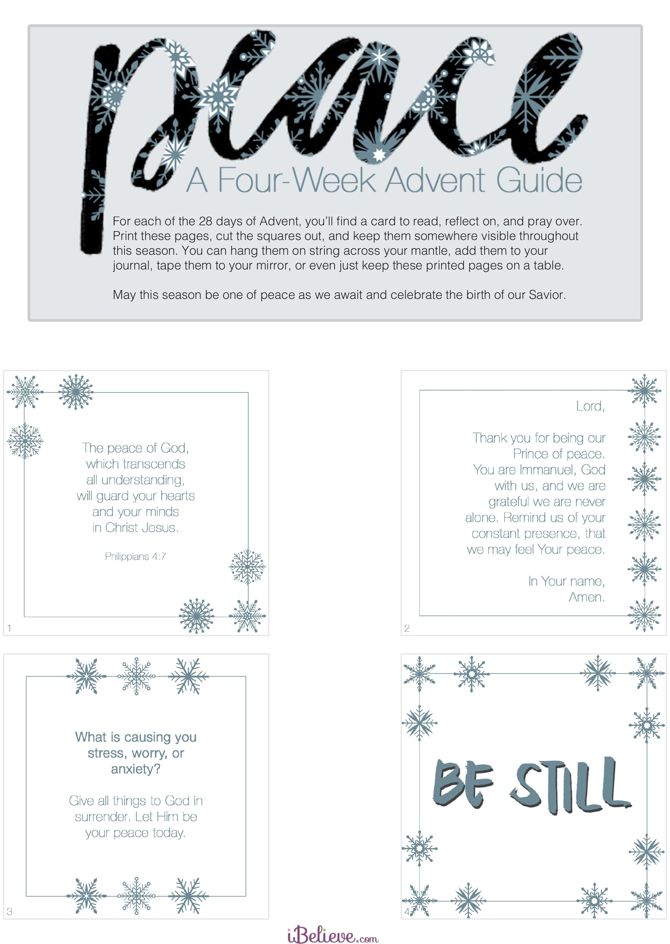 Free Downloadable - A 4-Week Advent Guide For Peace #advent - Free Printable Advent Bible Study