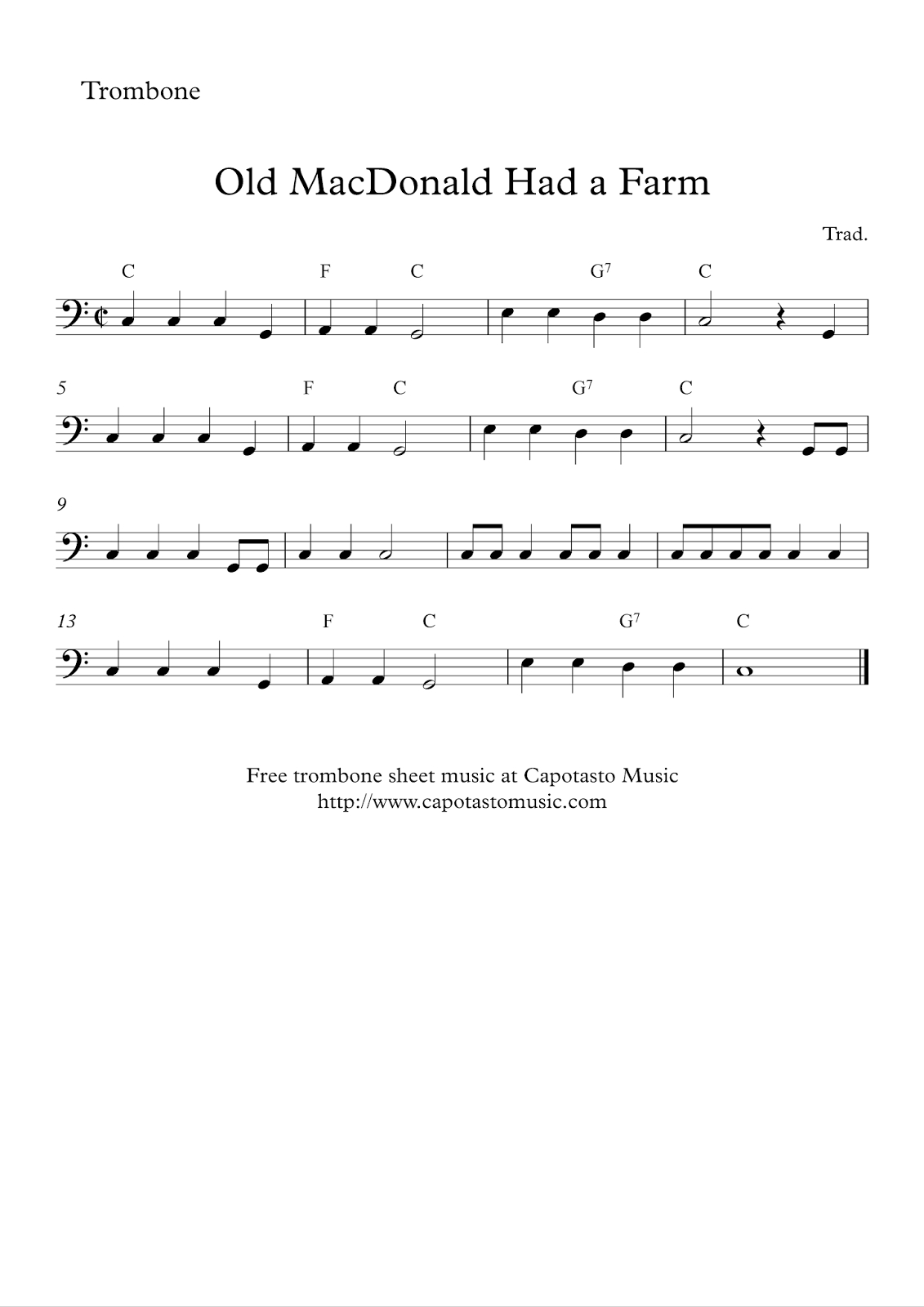 Free Easy Trombone Sheet Music - Old Macdonald Had A Farm - Sheet Music For Trombone Free Printable