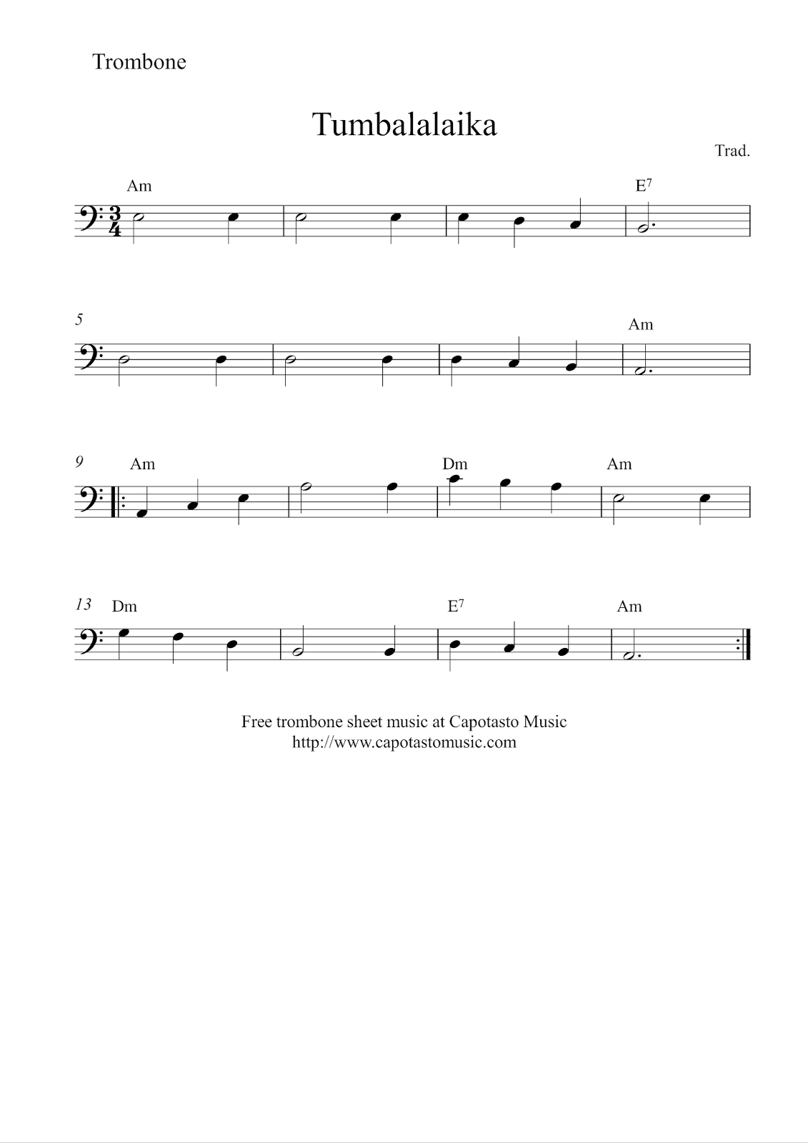 Free Easy Trombone Sheet Music, Tumbalalaika - Sheet Music For Trombone Free Printable