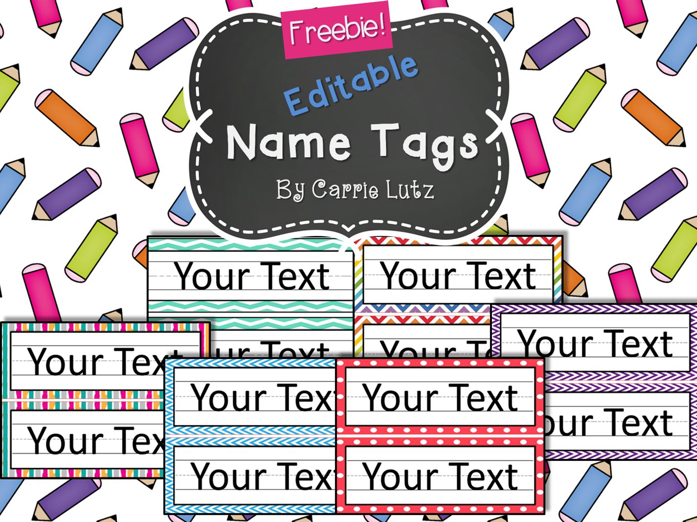 Free Editable!! Chevron, Dots Or Rainbow.simple Name Tags Type In - Free Printable Crayon Name Tags
