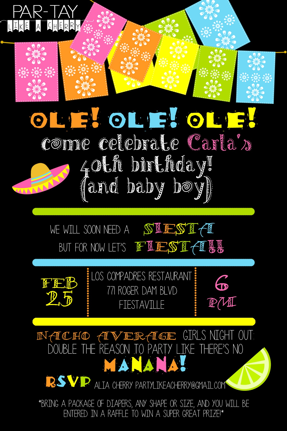 Free Editable Fiesta Invitation - Party Like A Cherry - Free Printable Mexican Fiesta Invitations