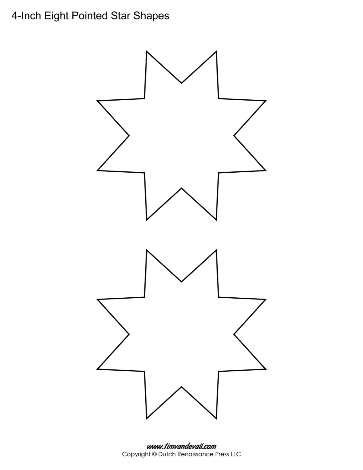 Free Eight Pointed Star Shapes | Blank Printable Shapes For Kids - Star Template Free Printable