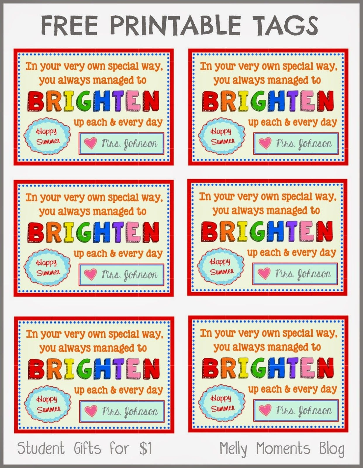Free End Of Year Gift Tag Printables From Teacher To Student - Free End Of School Year Printables
