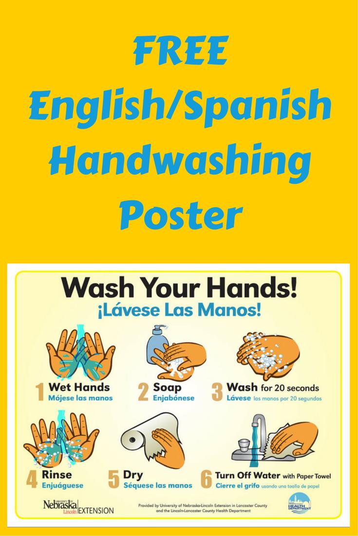 Free English / Spanish Handwashing Poster - Use For Daycare, School - Free Printable Hand Washing Posters