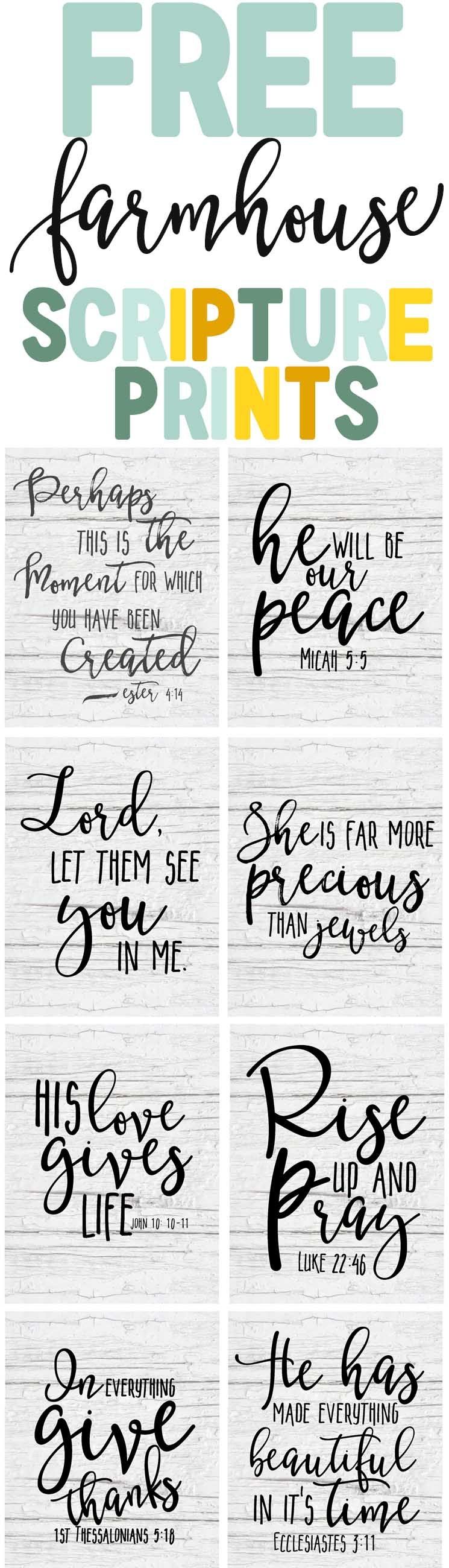 Free Farmhouse Scripture Printables - The Mountain View Cottage - Free Scripture Printables