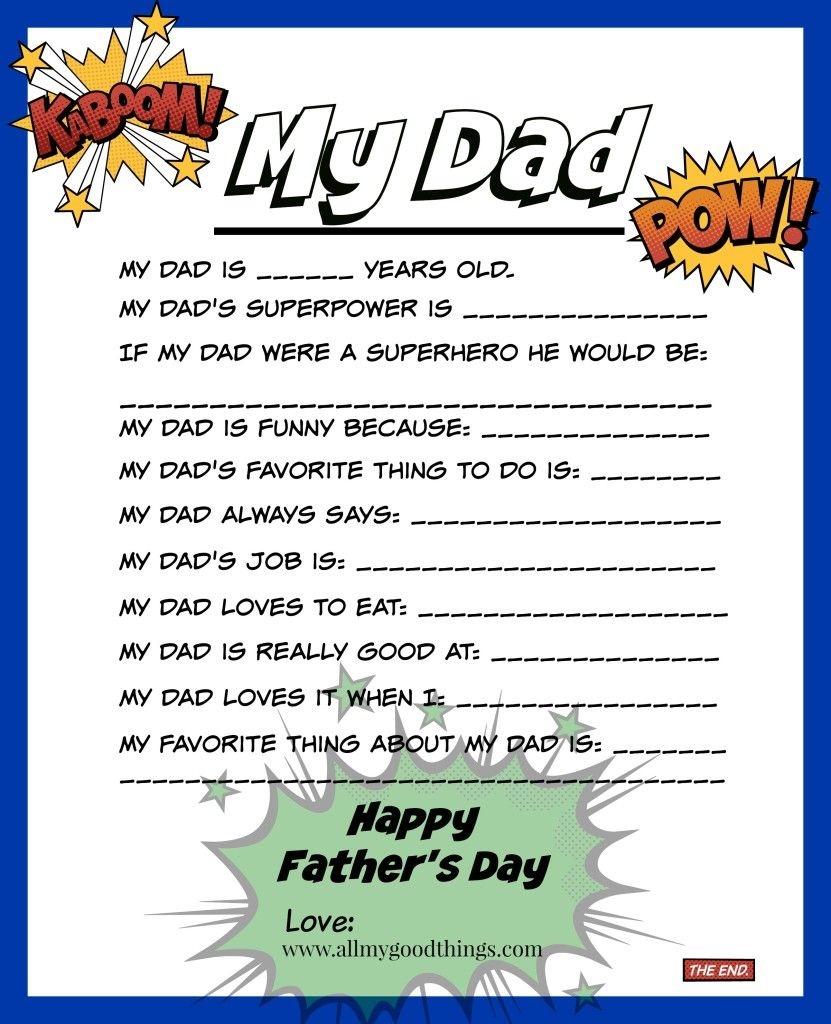 Free Father's Day Printable   Theitmom ✽ Diy   Father's Day - Free Preschool Fathers Day Printables